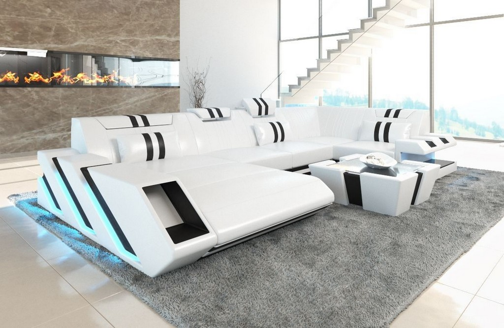 Ledercouch Apollonia In U Form Als Ledersofa Wohnlandschaft Mit Led inside size 1200 X 780